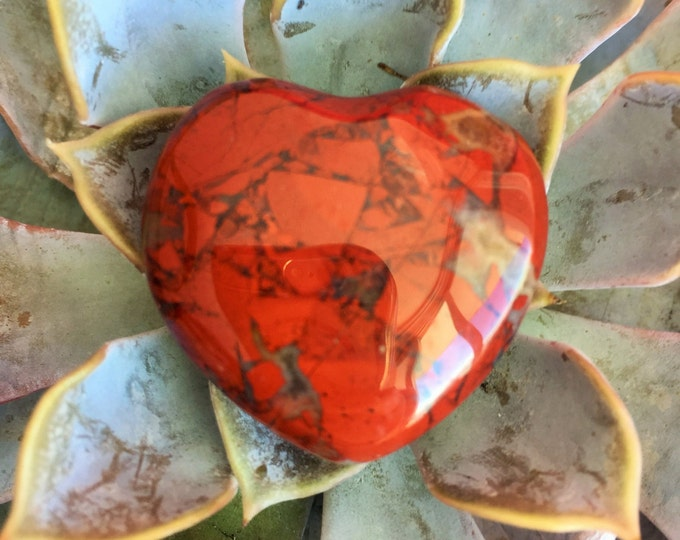 Red Jasper Heart Crystal infused with Reiki/ Healing Crystals and Stones
