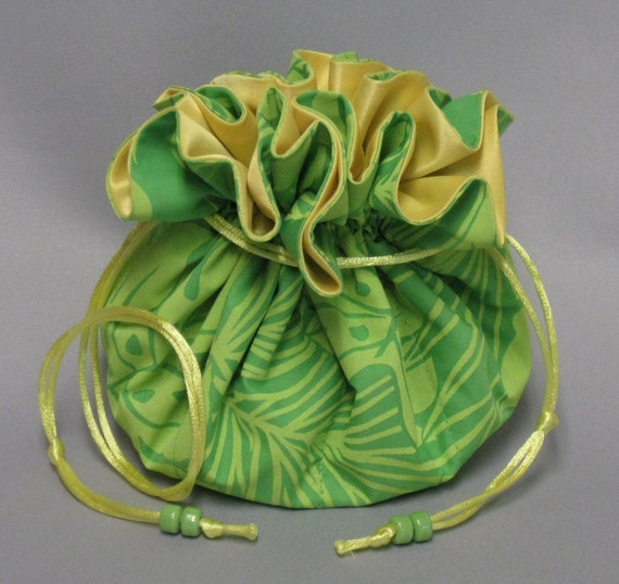 Jewelry Tote---Drawstring Organizer Travel Pouch---Hawaiian Floral--Large Size