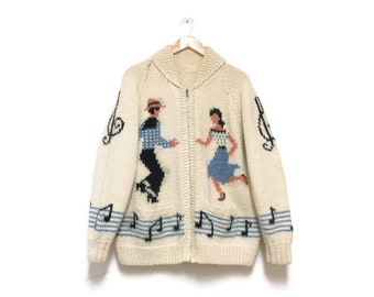Vintage Cowichan Sweater | Square Dancers Vintage 1960s Novelty Sweater | size large - xl
