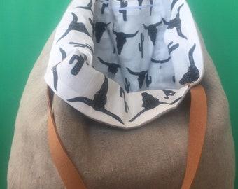 Tote bag boho reversible XL 100% linen tote bag, travel bag, handmade, leather handles