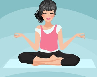 Yoga instructor Avatar. Yoga, healthy living character Graphic. Commercial use Blog, web avatar, zen, Buddha, Girl with yoga pants, yoga mat