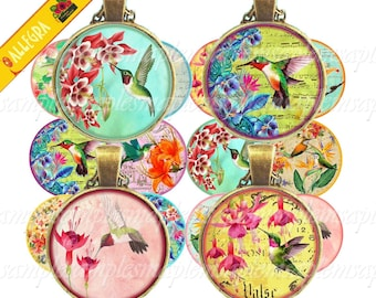 Printable 1 inch (25 mm) Circle Images HUMMINGBIRDS Digital Collage Sheet for pendants cabochons bottle caps bezels trays, digital rounds