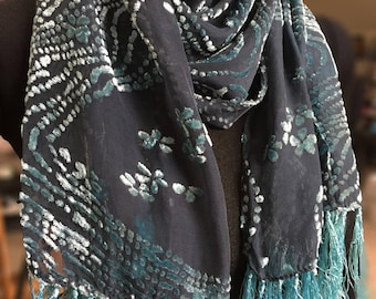 silk and rayon blend burnout scarf, pathway with flowers, hand-dyed, shimmering tourquoise over black with fringe