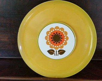 Retro serving tray with flower trivet, Lefton yellow serving dish vintage
