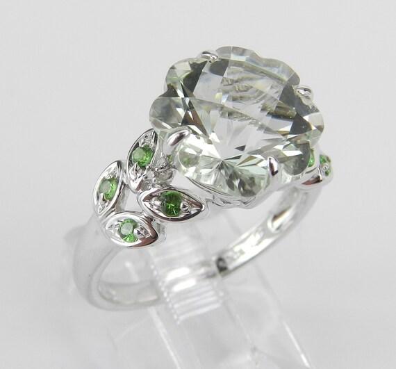 14K White Gold Diamond Green Amethyst Tsavorite Flower Engagement Ring Size 6.75
