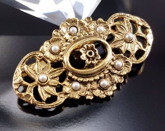 Vintage Victorian Revival Seed Pearl Brooch Estate Jewelry