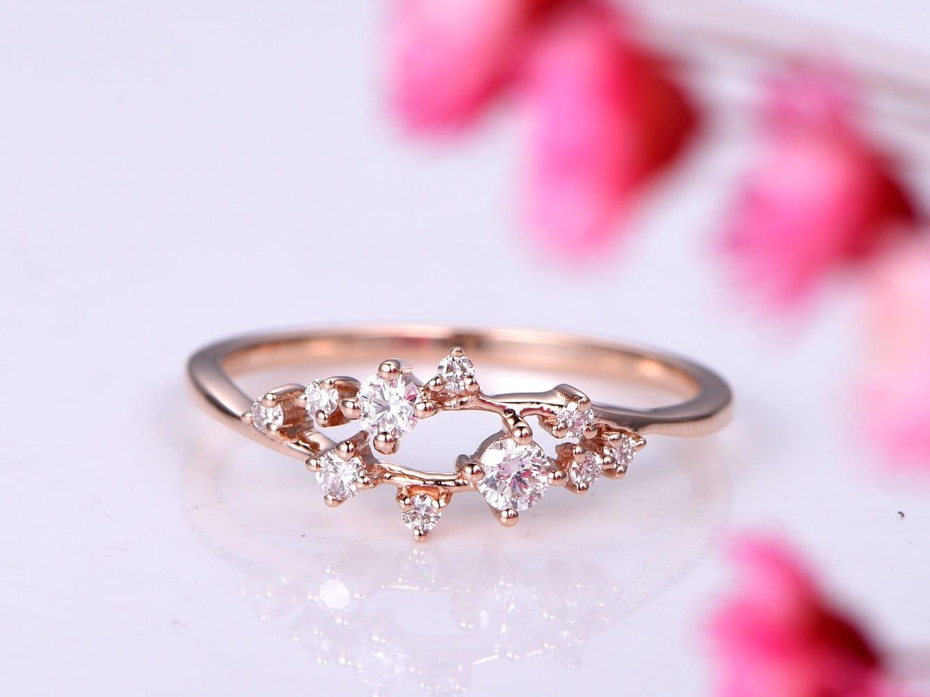 Diamond ring diamond engagement ring wedding band sakua design