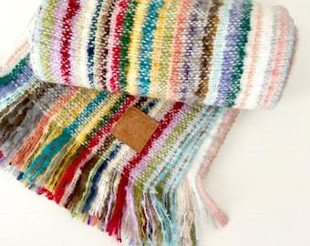 MOHAIR Throw Blanket /  Fringe BoHo  Mohair Throw Blanket / Wool Stadium Blanket