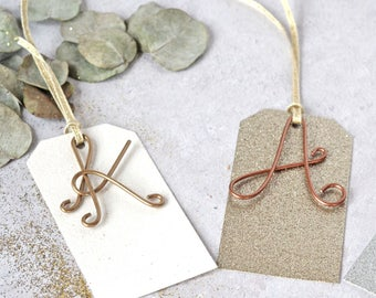 Personalized Gift Tags, Christmas tags, Personalised Gift Tag, Letter Gift Tag, Copper Gift Tag, Gold Gift Tag, Alphabet Gift Tag,