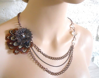Feather and chain Steampunk Adventurers Necklace Multi Strand Vintage Inspired Copper, Feathers, with Crystals inspired by Out of Africa