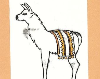 Señor Llama Dos- South American Ethnic Mammal-Hand-Colored Monotype- 8 x 10