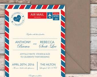 Love is in the Air Wedding Invitations with envelopes (5x7) Airmail, Travel, Weddings Abroad, Personalised, Guest Name Printing Available,