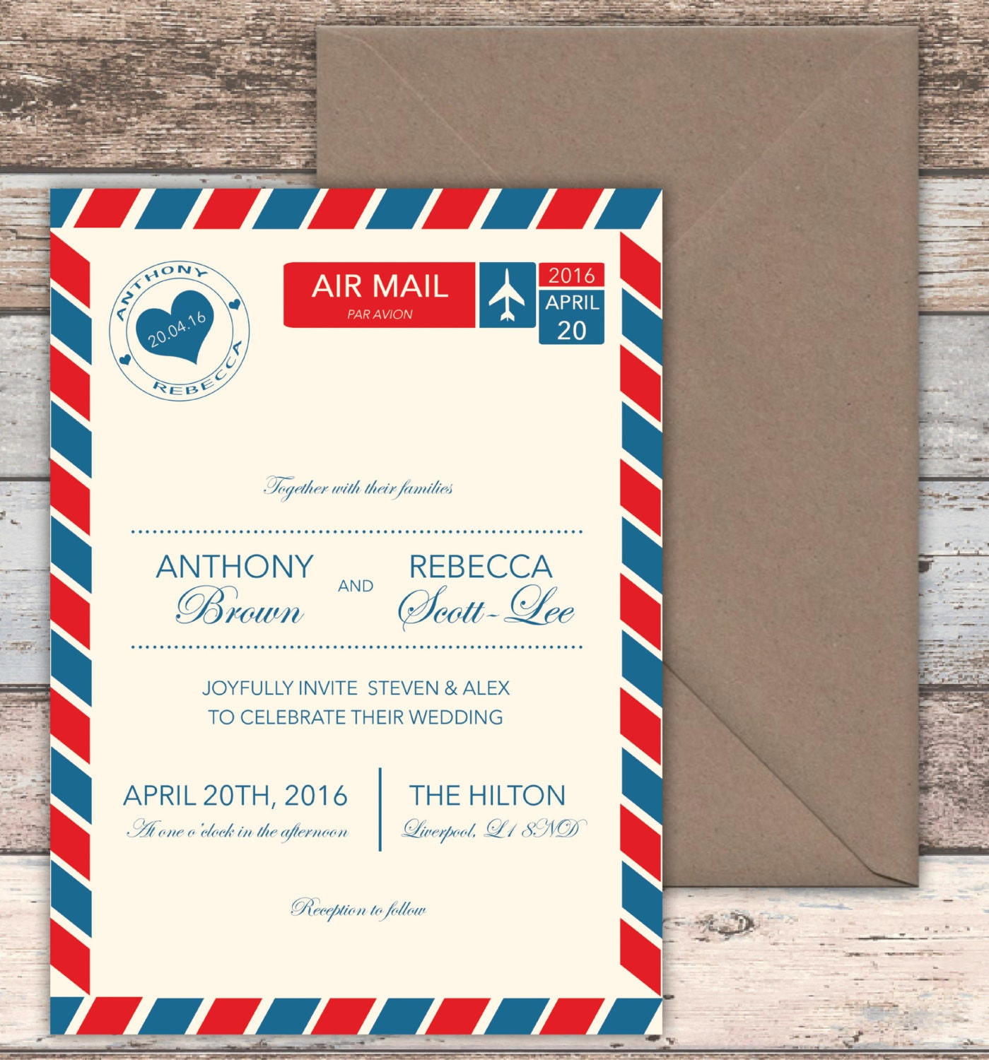 Love is in the Air Wedding Invitations with envelopes 5x7
