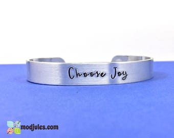 Choose Joy Bracelet, Christian Bracelet, Choose Joy Cuff, Inspirational Jewelry, Positive Quote Jewelry, Religious Gift