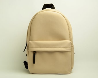 Eco leather backpack Women backpack Beige backpack Vegan leather rucksack Small backpack Women rucksack City backpack Faux leather