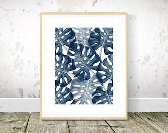 Monstera Print, Navy Blue Wall Art, Tropical Print, Navy Blue Wall Art Print, Abstract Art, Abstract Print, Printable Wall Art