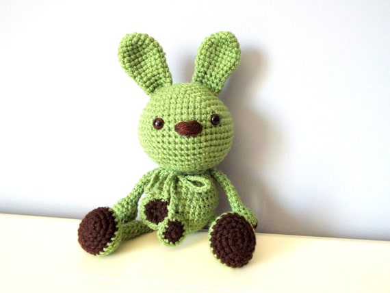Crochet handmade green bunny rabbit Amigurumi Home decor Kids Baby shower Gift ideas Soft dolls Stuffed bunny rabbit Girls Cute toys Boys