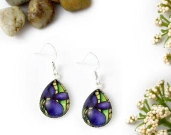 Purple Iris Earrings - Violet Floral Jewelry - Handmade Flower Earrings - Silver Earrings, Art Nouveau Glass Art - Deep Purple Iris Jewelry