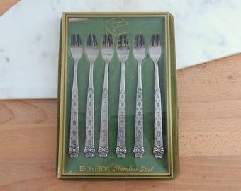Vintage Set of 6 Oneida Appetizer / Seafood Forks, SAN FRANCISCO Pattern,  Vintage Stainless Steel Flatware Cutlery, Oneida Japan, Boxed