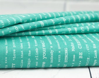 Teal Text Quilt Fabric - Bee Basics Fabric - Riley Blake Fabric - Lori Holt Fabric - Sold by Half Yard