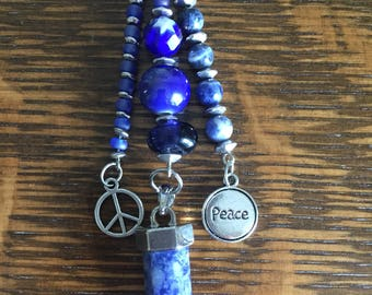 Peaceful Blue Point Long Pendant With Peace Charms, Natural Stone and Glass Beads/Gifts for Her/BoHoBounty