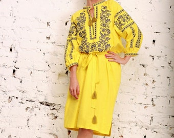 Embroidered Long Dress yellow for women. Vyshyvanka. Ukrainian embroider dress