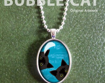 Two Black Cats Necklace, Blue Background, Peeking Cat Pendant with Chain