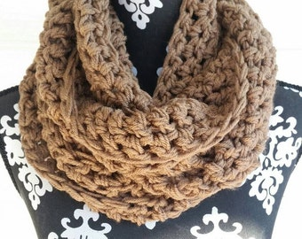 Infinity Scarf, Bohemian, Sand Color, Chunky Scarf, Vegan Friendly, Circle Scarf, Statement Piece, Cowl Scarf