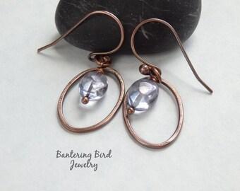 Quartz Crystal Earrings in Copper Hoops, Sky Blue Gemstone Dangle Earrings, Artisan Copper Jewelry
