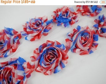 "SALE 30% OFF Sale 20 Percent off 2.5"" PRINTED Shabby Rose Trim - Patriotic - Memorial Day/4th July - Patriotic Shabby Rose Trim - Hair Acces"