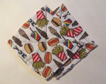 Junk food flannel coasters, set of 2