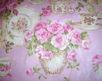 Chic Rose Garden Tea Teacup Fabric Pink Quilting 1 yd Chic Pink Shabby Fabric Northcott