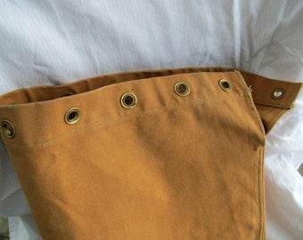SALE Vintage canvas duffle bag / brown tubular strapless canvas bag / canvas drawstring duffel bag