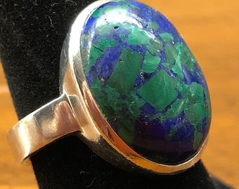 azurite, malachite sterling silver ring, marked 925, deep blue and green jewel tones, US size 6.5, unsigned, boho