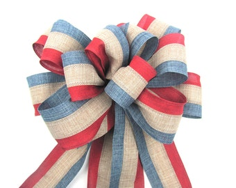 americana wreath bow, patriotic wreath bow, independence day bow, 4th of July Bow, country chic bow, red white blue bow, american flag bow,