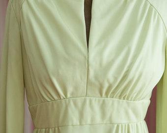 Vintage Gown - Maxi Evening 70s Mod Citron Color Disco
