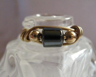 Hematite 14k Gold Filled Wire Ring