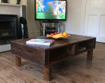 Rustic Handmade Reclaimed Wood Coffee Table with shelf