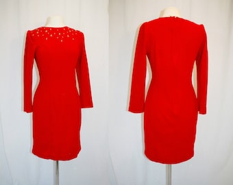 1980s Red Wiggle Dress Gold Studs Size 10 Small Vintage REro 80s Sheri Martin Fitted Hipster Sheath Valentine's Day Christmas