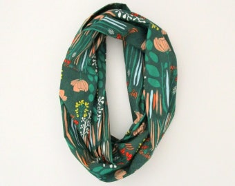 Echarpe Tube infini écharpe - vert Orange jaune rouge sauvage Fleurs Floral - coton mode
