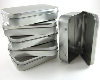 Steel Mint Tins | 6 Rectangular Metal Tin Boxes with Hinged Lid for Party Favors, Craft Projects, Packaging