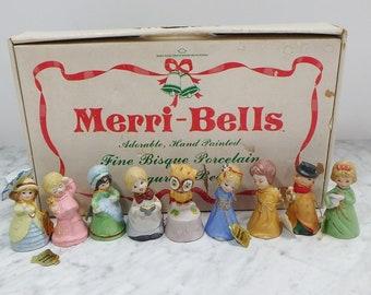 Merri Bells Hand Painted Bisque Porcelian Bell Set, In the original box, Nine Bells, In Excellent used condition