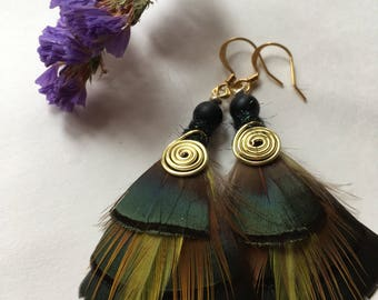 Bella, Feather Earrings, Golden Pheasant, Feather Jewelry, Hunting Gifts, Pheasant Feather Earrings