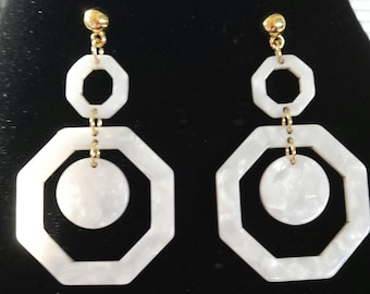 White Marble Octagon  Shape Celluloid  Earrings