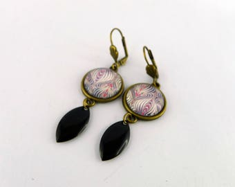 """Sequin black navette and """"line of asymmetrical painting"""" cabochon earrings"""