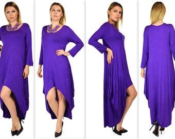 Plus Size Dress,Designer Dress,Lagenlook Dress,  Hi Low Dress, Maxi Dress, XL/1XL AND 2XL/3XL