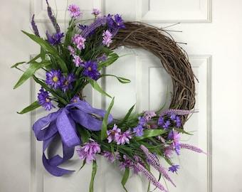 Floral Wreath, Front Door Wreath, Grapevine Wreath, Purple Wreath