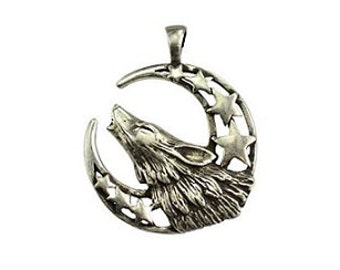 Howling Wolf Moon Pendant - Pewter, Wolf spirit, Crescent moon, Wolf howling, Moon stars, Wild animal, Wolf totem
