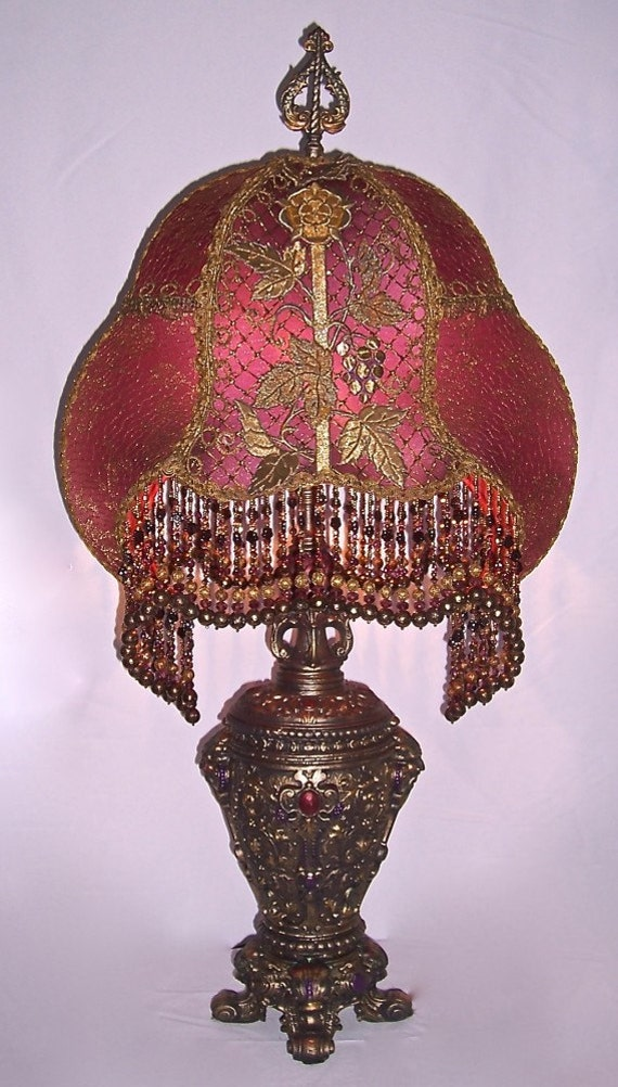 Antique red plum gothic rose and grape table lamp hand made aloadofball Image collections