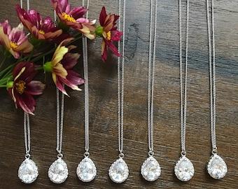 Teardrop Bridesmaid necklace set of 7, Cubic Zirconia teardrop necklace, bridesmaid Jewelry
